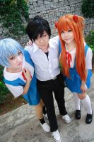 Evangelion - Rei x Shinji x Asuka by Xeno-Photography