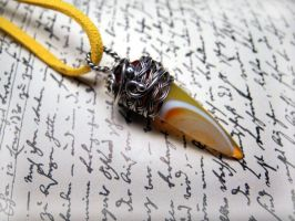 Yellow Vampire fang, Silver necklace with Agate by nurrgula
