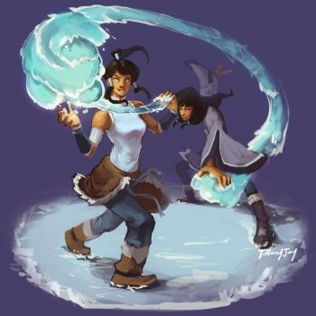 Korra and Eska Waterbending : Re-Make by RuthlessRedRose