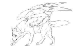 Free winged wolf lineart by Doctor-Necro