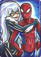 Spiderman Black cat Sketchcard by mainasha