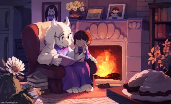 Toriel and Frisk by bluekomadori