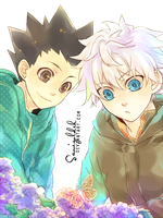 killua and gon render by samizoldek