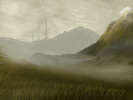 Simple Mountains and Grass (June 9th) by PlainBen