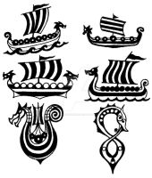 Drakkar - viking ship - small tattoo flashes by thehoundofulster