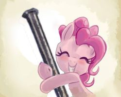 Pinkie Pie hugging a nail by DethLunchies