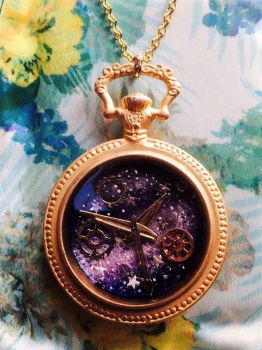 Galaxy Pocket Watch Necklace by Duck-With-No-Name
