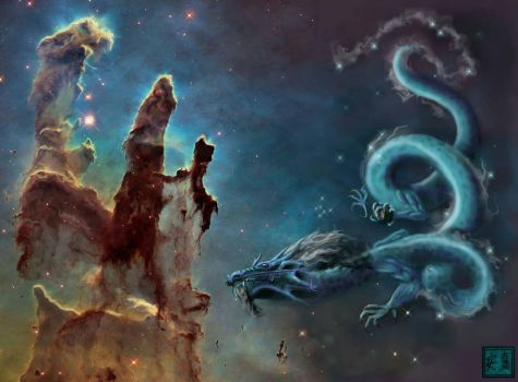 Dragon Amongst the Pillars of Creation.  by sidefist