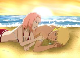 Narusaku: Vacation Beach by Celious