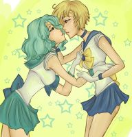 Sailor Uranus and Neptune by CrimsonRoses