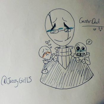 Gaster dad with the baby skele bros by Artlover030