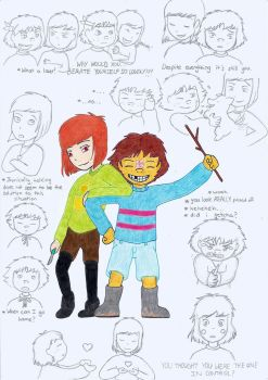 Male Frisk and Female Chara by MislamicPearl