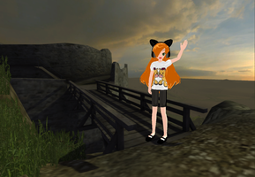 Kuri at ruins of castle by Rolneeq