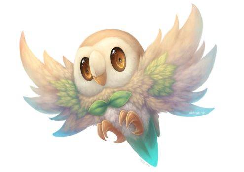 Rowlet Painting by eldrige