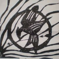 Mockingjay lino print by Coco2204