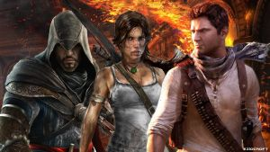 Ezio Auditore, Lara Croft, and Nathan Drake by EzioCroft