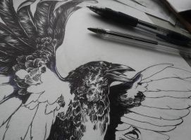 Tattoo design - raven WIP by Kaos-Nest
