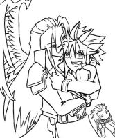 Sephiroth and Cloud by kmcarthoway