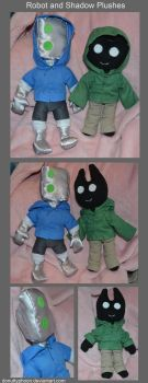 Robot and Shadow Plushes by DonutTyphoon
