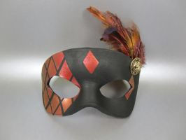 Red and Gold Stained Glass Mask with Feathers by maskedzone