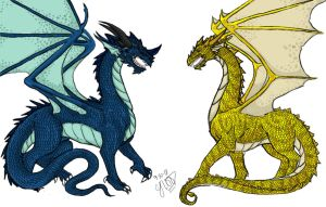 322-WIP- Dragons Colored by Ayame-Seeker-CjBArt