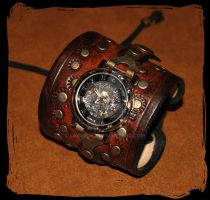 steampunk leather watch by Lagueuse