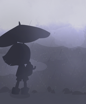 Frisk in the rain doodle by Pastel-Pow