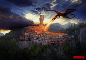 Mage tower vs Red Dragon by EmilianoHC