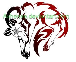 Snow wolf tribal by Ashenee