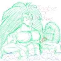 Raditz taking a bath doodle by Paradise-of-Darkness