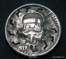 Hobo Nickel Santa by Shaun Hughes Buffalo carved by shaun750