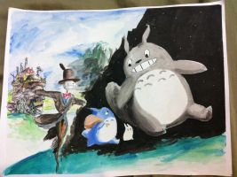 my neighbor totoro and howl's moving castle by iheartmusicjly93
