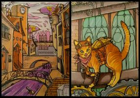 ACEO #95-96: Steampunk City and Cat by MTToto