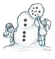 Snowman Sketch by msciuto