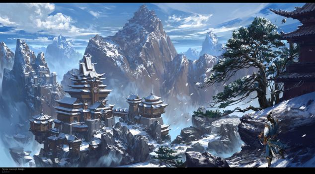 The snow capped mountains by gliulian