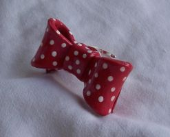 Polymer Clay Red Ribbon Ring by SeaOfCreations
