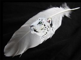 Snow Leopard Feather by DarkGrungeWolf