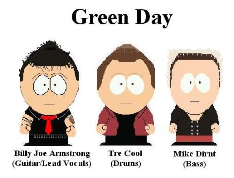Green Day in South Park Style. by Shady-Lurker