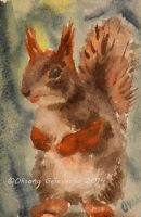 Watercolor and Ink #15 - Squirrel by Oksana007