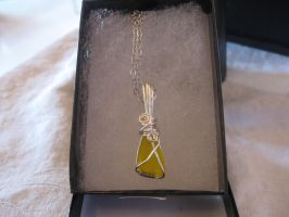 Bright Yellow Sea Glass Wire Wrap Necklace by Katlynmanson