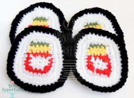 Crochet Sushi Roll Coasters by Bon-AppetEats