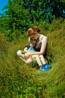 Mother and Son in Grass by IQuitCountingStock