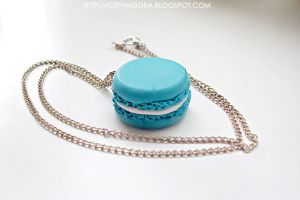 Blue macaron necklace by Ice-Pandora