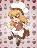 Chibi Chef in Chocolate Dress - Digital by Sapheron-Art