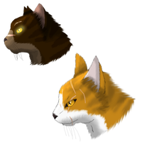 Warrior Cat Headshots: Tigerstar and Mapleshade by xX-NIGHTBANEWOLF-Xx