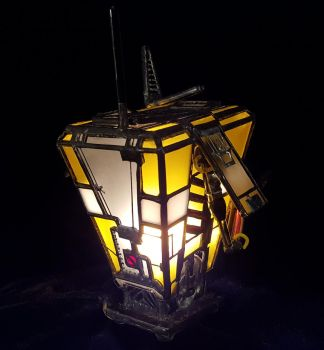 Mini Stained Glass Claptrap Night Light - Back by DarkeVitrum
