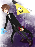 Dipper Pines and Bill Cipher by Nevicity