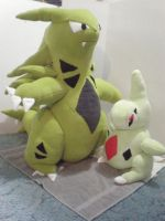 Tyranitar  and Larvitar Commission by cosmiccrittercrafts