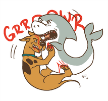 Scooby vs. Jabberjaw by outonalark