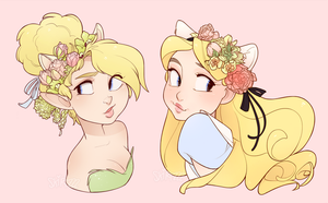 Spring Time Neko Tink and Alice by Skirtzzz